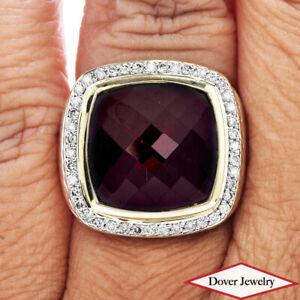 David Yurman Diamond Garnet 18K Gold Sterling Silver Albion Ring 17.4 Gr NR