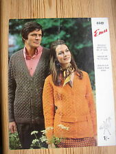 "Vtg 60s knitting pattern Mens Womens Jacket Cardigan V-neck 33-49""Cable +/- belt"
