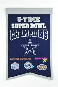 """DALLAS COWBOYS 5 TIME SUPER BOWL CHAMPIONS EMBROIDERED WOOL BANNER 14""""X22"""""""