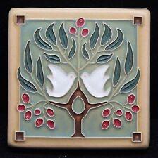 4x4 Arts & Crafts Lovebirds Tile in Sage by Arts & Craftsman Tileworks