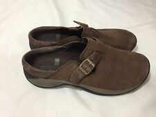 NEW Merrell Encore Bracken Brown Suede Buckle Slip On Clogs Shoes Leather 10