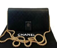 AUTHENTIC CHANEL Authentic CC Quilted Camellia Long  Wallet Leather Black