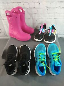 GUC lot of 4 girl's CROCS, UNDER ARMOUR & NIKE athletic shoes - SIZE 2 & 2 1/2
