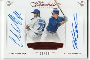 2016 FLAWLESS KYLE SCHWARBER CARL EDWARDS DUAL AUTOGRAPH CARD 10/20
