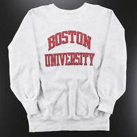 Vintage CHAMPION Boston University Grey American Round Neck Sweatshirt Mens XL