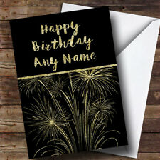Gold Fireworks Personalised Birthday Card