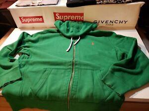 $1 AUCTION Mens XXL Polo Ralph Lauren Green Full Zip Hooded Hoodie Sweatshirt