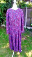 *Vintage 80s* Laura Ashley Floral Maxi Dress Size 14 Victorian Edwardian