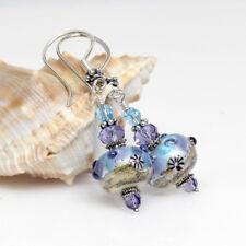Ocean Theme Lampwork Glass Earrings, Murano Glass Earrings, Aqua Blue, Mauve