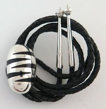 Sterling Silver & Black Zebra Striped Bolo Tie with Sterling Tips