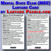 Mental State Exam MSE - Medical Lanyard Reference Card (NOT MMSE)