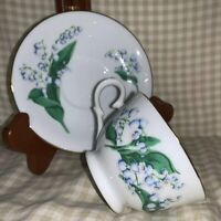 """Vintage AVON Blossoms Of The Month May """" Lily Of The Valley"""" Cup & Saucer"""
