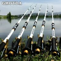 White Spinning Fishing Rod FRP + Carbon Fiber Telescopic Hand Pole Compact Rod