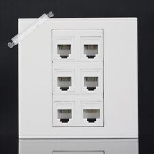 Wall Socket  Plate 6 Ports 5 Port RJ11 Telephone & Cat5 Cat5e Panel Faceplate