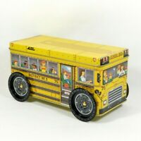 Vintage Yellow School Bus Storage Tin Box with Moving Rolling Wheels!