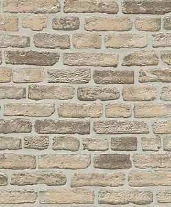 Erismann Wallpaper - Stone Wall / Brick Optic - Beige & Grey -Textured -6939-20