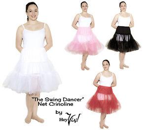 Crinoline Net Petticoat Slip - Small to XL - White, Black, Red, Pink - 50s Style