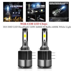 2PCS Car H15 HID LED Headlight 110W 26000LM Bulbs 6000K White Light COB Lamp
