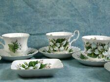 Vintage Royal Albert Trillium Coffee Tea Set Classy gold white green Bone China