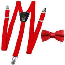 New Kid's Boy's girl's Vesuvio Napoli Suspenders Braces_Bowtie set clip on Red
