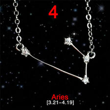 12 Constellations Star Sign Silver Plated Rhinestone Necklace Pendants JewelryJR