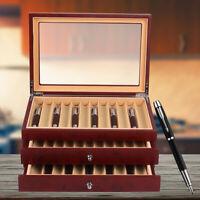 34 Slot Fountain Pen Display box wood Collector Storage Organizer 3 Layer box