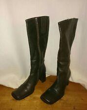 Ladies Bronx leather knee high boots size 7 uk square toe block heel