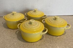 "Le Creuset Set of 4 Mini Cocotte w/Lids 4""Round 8oz Soleil Yellow Stoneware Dish"
