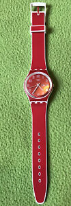 Swatch Watch Red And White - Very Good Condition