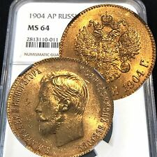 1904 AP RUSSIA 10 ROUBLES NGC MS64 NICHOLAS II GOLD COIN Q76