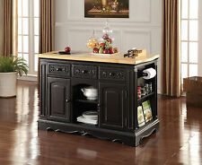 NEW DOLORES NATURAL WOOD TOP BLACK FINISH WOOD KITCHEN ISLAND CABINET w/ DRAWERS