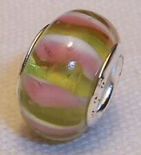 Pink Yellow Striped Murano Glass Bead for Silver European Style Charm Bracelet