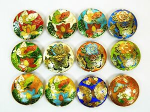 42mm Diam Double-Side Cloisonne Enamel Round Disc Beads,Pendant Charm Ornaments