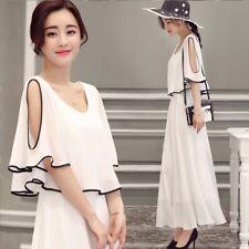 Korean Fashion Chiffon Dress Womens Cold Shoulder Lace Evening Party Dress
