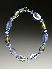 New Markdown -Bess Heitner Purple Hammershell Venetian Tricolor Glass Collar
