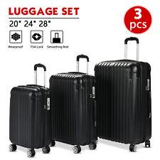 """3PCS Luggage Set Travel Bag ABS Spinner Suitcase w/ TSA Lock Black 20"""" 24"""" 28"""""""