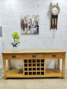 Solid Oak Farmhouse Sideboard with Wine Rack & 3 Drawers in great condition