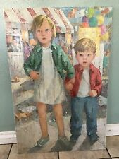 Eleanor M. Johnson Vintage Girl and Boy Oil Painting