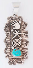 Native American Handmade by Alex Sanchez Silver Pendant with Turquoise