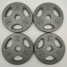 "x4 5lb CAP 1"" Hole Iron GRIP Weight Plates Pair Set of Four - 20 Lbs. Total"