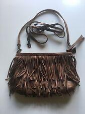 Oasis Fringe Brown Leather Shoulder Bag. 2 Length Straps. Boho. Festival