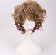 men's short brown curly cosplay wigs +a wig cap