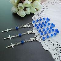 Baptism Favors (24 PCS) Mini Blue Glass Mini Rosary Christening Wedding JA378Blu