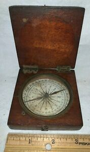 ANTIQUE WOOD POCKET COMPASS SUNDIAL FOLDING EARLY BEVELLED LID MARITIME TRAVEL