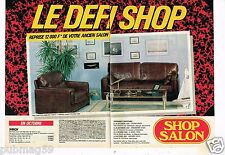 Publicité advertising 1989 (2 pages) Fauteuil Canapé Cuir Shop Salon