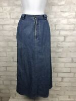 Vintage LL Bean Jean Denim Maxi Skirt Womens Modest Flannel Lined  10 Petite