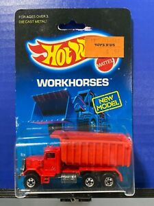VINTAGE HOT WHEELS WORKHORSES PETERBUILT DUMP TRUCK #1516 RED
