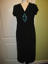 LADIES CC PETITE SIZE S APPROX 10 BLACK JERSEY STRETCH DRESS + TURQUOISE BEADING
