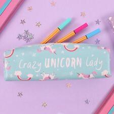 CRAZY UNICORN LADY PENCIL CASE CHILDREN'S GIFT SCHOOL RAINBOW PINK BLUE ZIP NEW