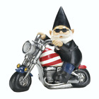 Sigma Zingz & Thingz,Biker Gnome Solar Statue, Black, Patriotic Chopper, LED